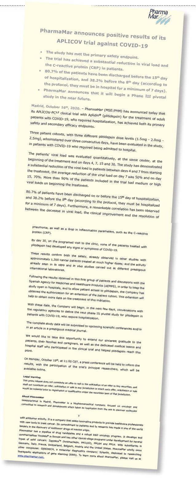Pharma Mar Press Release